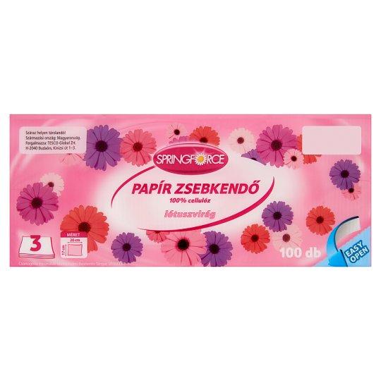 Springforce Lótuszvirág papír zsebkendő 3 rétegű 100 db