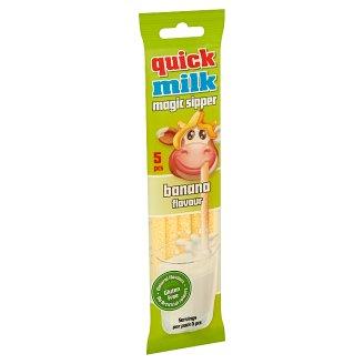 Quick Milk Magic Sipper banán ízű cukordrazséval töltött szívószál 5 db 30 g