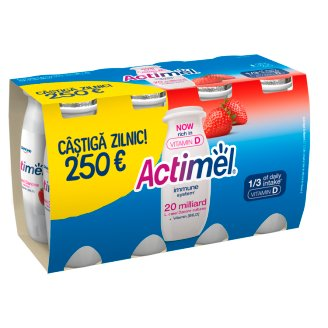 Danone Actimel Low-Fat Strawberry Flavoured Yoghurt Drink with Live Culture 8 x 100 g