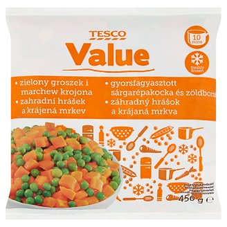 Tesco Value Quick-Frozen Carrot Cubes and Green Peas 450 g