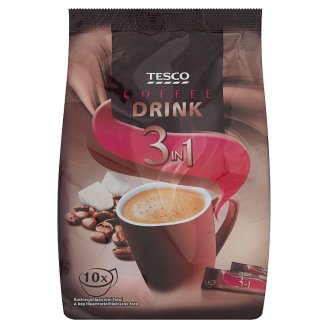 Tesco 3 az 1-ben azonnal oldódó italpor cukorral, krémporral és kávékivonattal 10 x 18 g