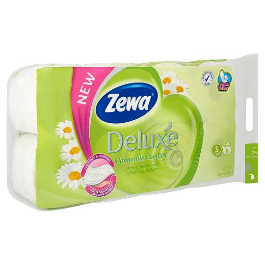 Zewa Deluxe Camomile Comfort Toilet Paper 3 Ply 8 Rolls