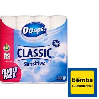 Ooops! Classic Sensitive toalettpapír 3 rétegű 32 tekercs