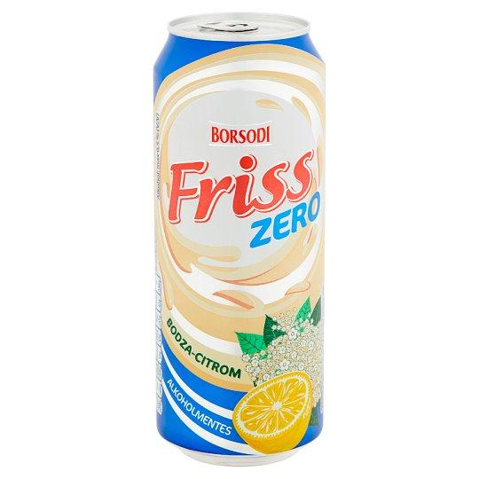 Borsodi Friss Zero bodzavirág és citrom ízű ital és alkoholmentes világos sör keveréke 0,5% 0,5 l