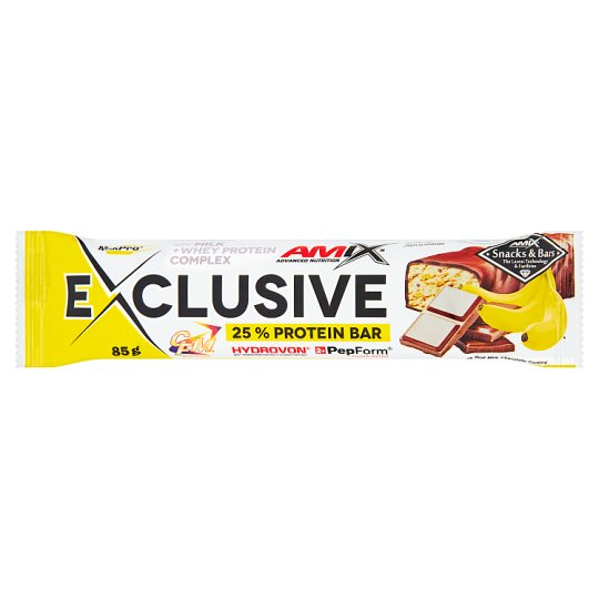 Amix Exclusive Bar banán-csokoládé ízű protein szelet 85 g