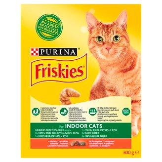 Friskies Indoor Cats teljes értékű felnőtt macskaeledel csirkével és kerti zöldségekkel 300 g