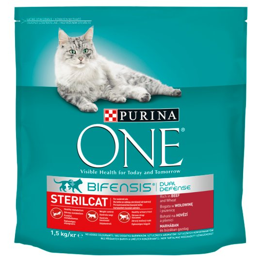Purina One Sterilcat Dry Cat Food Rich in Beef and Wheat 1,5 kg