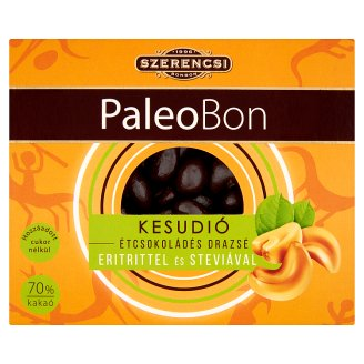 Szerencsi PaleoBon Dark Chocolate Coated Cashew Dragees with Erythritol and Stevia 100 g