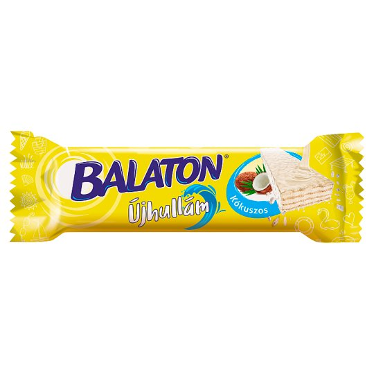 Balaton Újhullám Coconut Cream Filled Wafer Dipped in White Chocolate 33 g