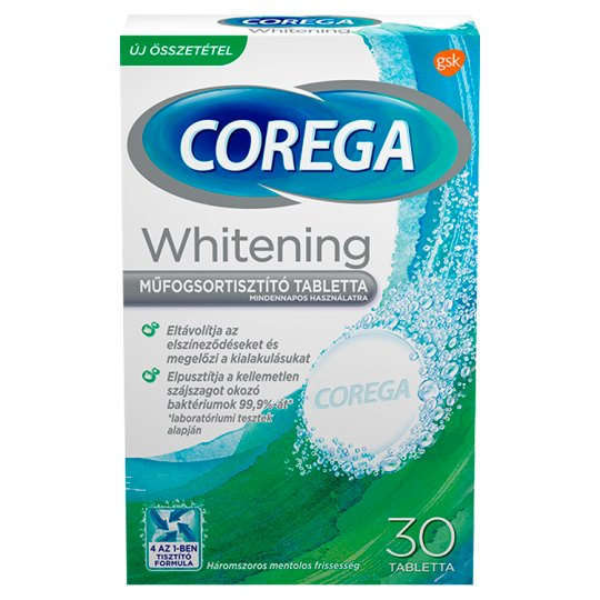 Corega Whitening Antibacterial Denture Cleaning Tablets 30 pcs