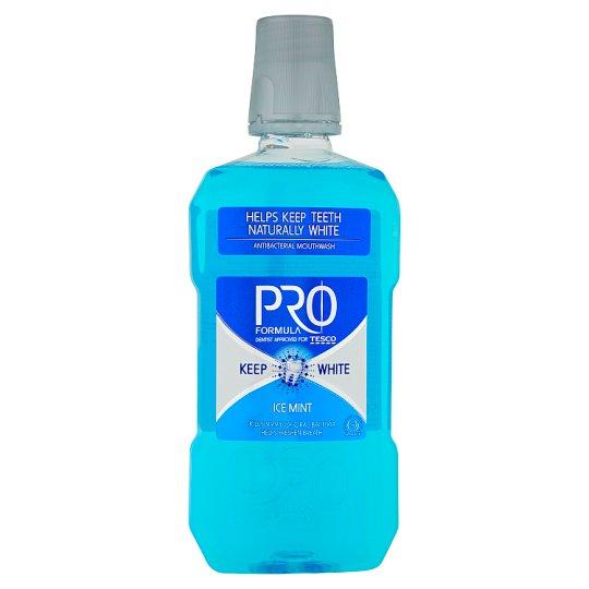 Tesco Pro Formula Keep White Ice Mint Antibacterial Mouthwash 500 ml