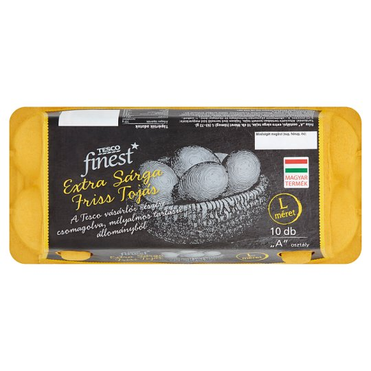 "Tesco Finest ""A"" Quality Extra Yellow Fresh Eggs L 10 pcs"