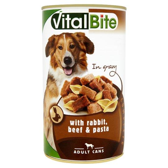 VitalBite Konzerv teljes értékű eledel felnőtt kutyák számára nyúllal, marhával és tésztával 1240 g