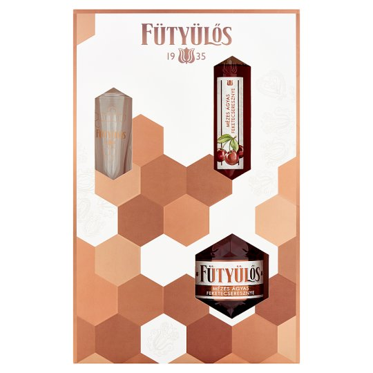 Fütyülős Honey Black Cherry Liqueur on Fruit Bed with Glass 30% 0,5 l