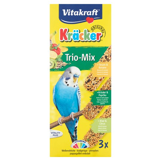 Vitakraft Kräcker Trio-Mix szezám&gyógynövény&citrus kiegészítő eledel törpepapagájoknak 3 db 90 g