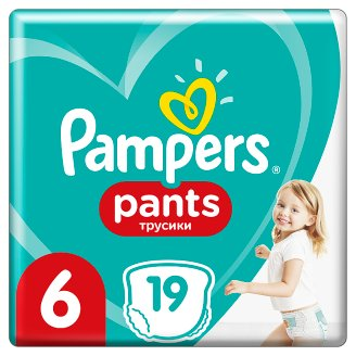 Pampers Pants Size 6, 19 Nappies, 15+kg, Absorbing Channels