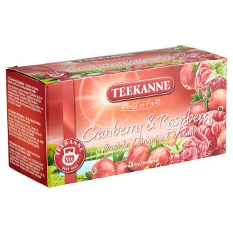 Teekanne World of Fruits Cranberry and Raspberry Flavoured Fruit Tea 20 Tea Bags 45 g