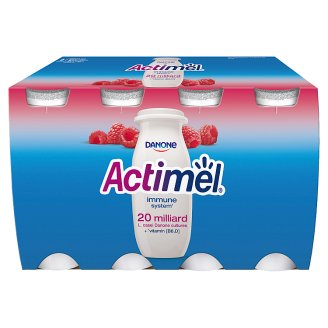 Danone Actimel Low-Fat Raspberry Flavoured Yoghurt Drink with Live Culture 8 x 100 g