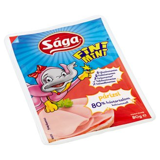 Sága Fini Mini Sliced Turkey Bologna Sausage with Added Vitamins and Calcium 80 g