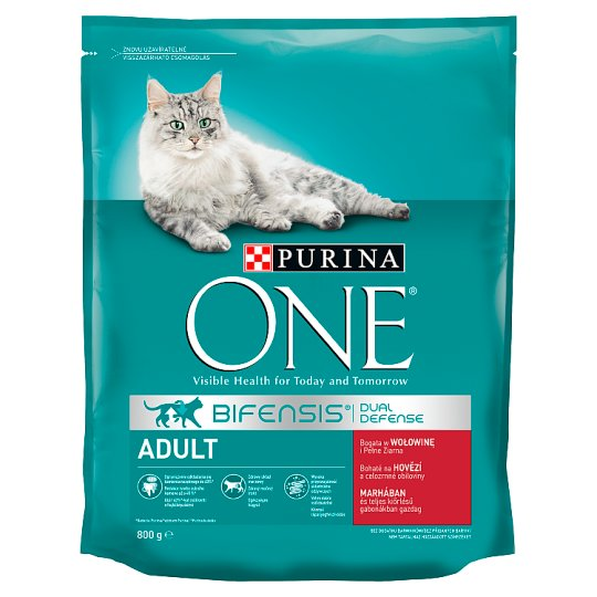Purina One Bifensis Complete Cat Food Rich in Beef and Wheat for Adult Cats 800 g