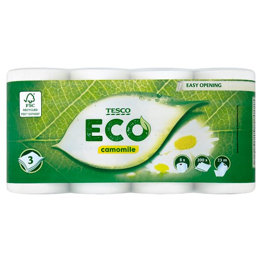 Tesco Eco Camomile Toilet Paper 3 Ply 8 Rolls