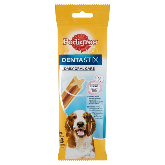 Pedigree DentaStix kiegészítő állateledel 10-25 kg-os, 4 hónapnál idősebb kutyáknak 3 db 77 g