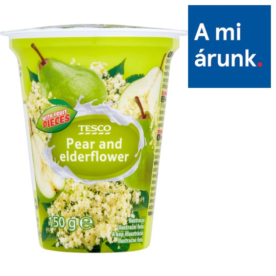 Tesco Pear and Elderflower Flavoured Yoghurt with Live Cultures 150 g