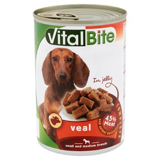 VitalBite Complete Pet Food for Adult Dogs with Veal in Jelly 415 g