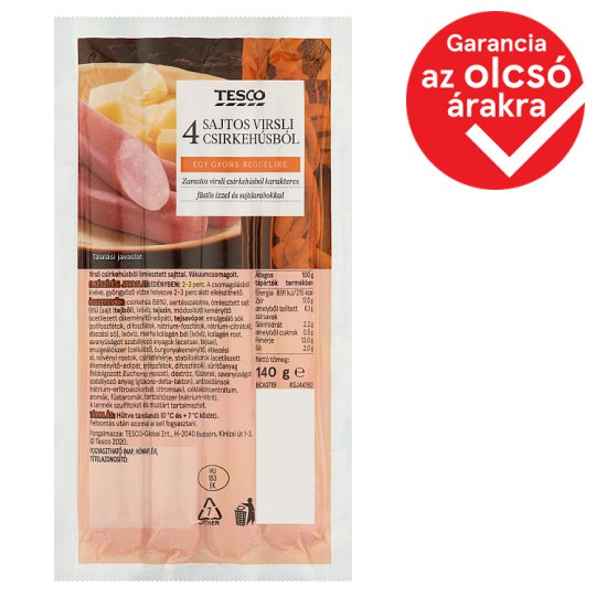 Tesco Smoked Flavored Turkey Frankfurters with Cheese 140 g