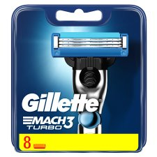 Gillette Mach3 Turbo Razor Blades For Men, 8 Refills