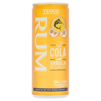 Tesco Carbonated Spirit Drink Made with Rum, Blended with Cola and Spice Flavour 5% 250 ml