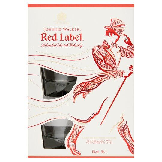 Johnnie Walker Red Label Blended Scotch Whisky + 2 Glasses 40% 0,7 l
