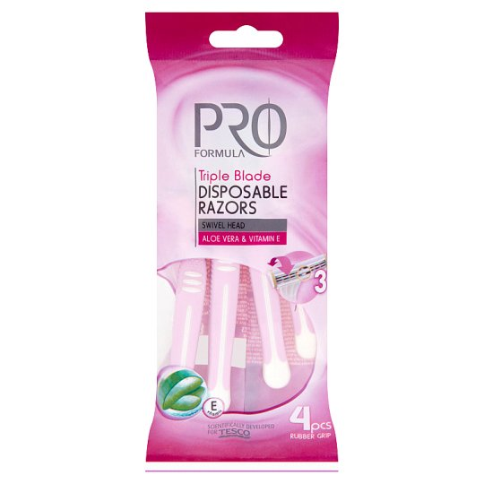 Tesco Pro Formula Triple Blade Disposable Razors 4 pcs