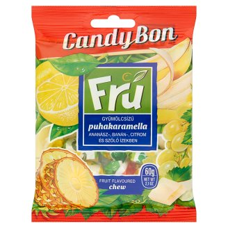 Candy Bon Fru Fruit-Flavoured Chew with Pineapple, Banana, Lemon and Grape Flavours 60 g