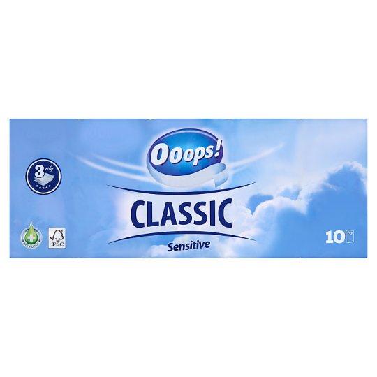 Ooops! Classic Sensitive papír zsebkendő 3 rétegű 10 x 10 db