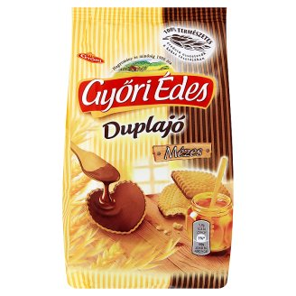 Győri Édes Duplajó Friable Biscuits with Bottom Dipped in Cocoa Coatings 150 g