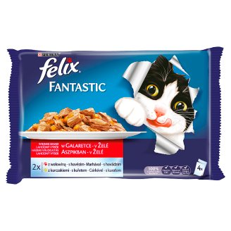 Felix Fantastic Complete Pet Food for Adult Cats with Beef and Chicken 4 x 100 g