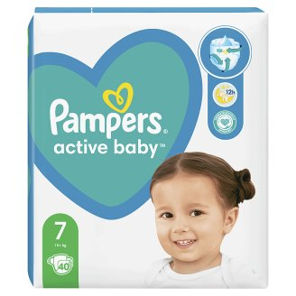 Pampers Active Baby Size 7, 40 Nappies, 15kg+