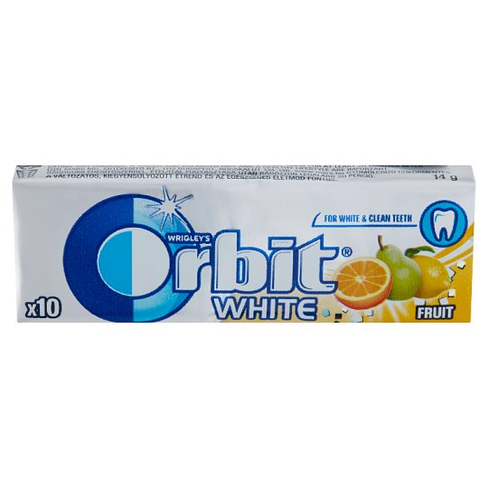 Orbit White Fruit Sugar-Free Fruit Flavoured Chewing Gum with Sweeteners 10 pcs 14 g