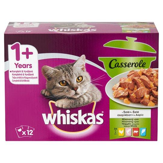 Whiskas 1+ Casserole Vegyes Válogatás teljes értékű eledel felnőtt macskáknak aszpikban 12 x 85 g