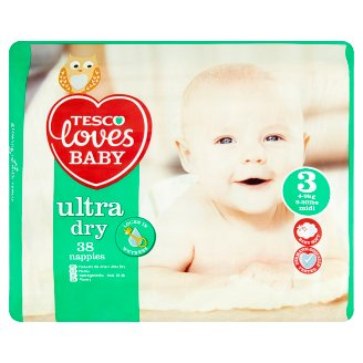 Tesco Loves Baby Ultra Dry 3 Midi Nappies 4-9 kg 38 pcs