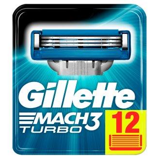 Gillette Mach3 Turbo Razor Blades For Men, 12 Refills