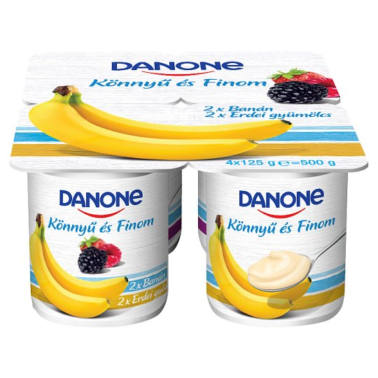 Danone Banana & Forest Fruit Flavoured Low-Fat Yoghurt with Live Cultures 4 x 125 g