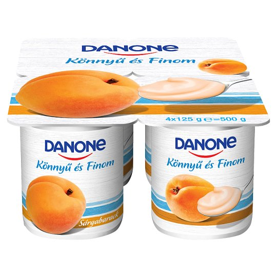 Danone Apricot Flavoured Low-Fat Yoghurt with Live Cultures 4 x 125 g