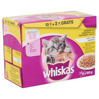 Whiskas Junior Poultry Selection Complete Pet Food for Junior Cats 12 x 100 g