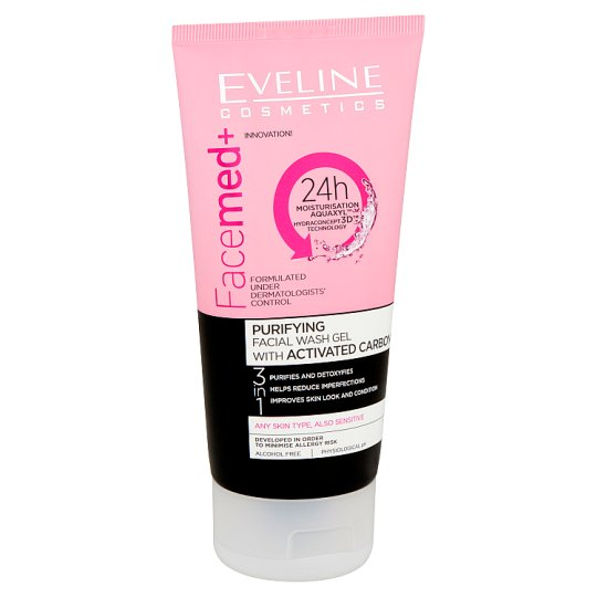 Eveline Cosmetics Facemed+ Purifying Facial Wash Gel with Activated Carbon 3 in 1 150 ml