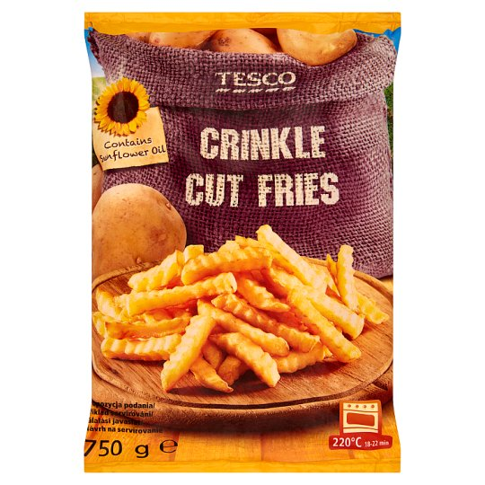 Tesco Quick-Frozen, Pre-Baked Crinkle Cut Fries 750 g