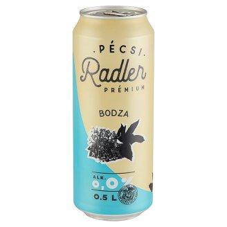 Pécsi Radler alkoholmentes világos sör és bodza ízű szénsavas üdítőital keverék 0,5 l
