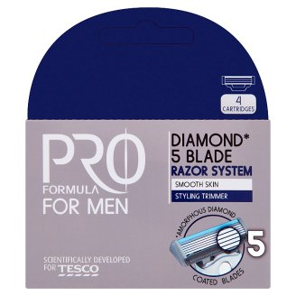 Tesco Pro Formula for Men Diamond 5 Blade Razor System 4 pcs