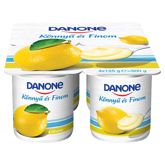 Danone Lemon Flavoured Low-Fat Yoghurt with Live Cultures 4 x 125 g
